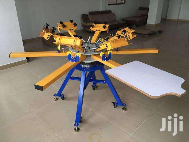 4color 4 Station Screen Printing Machine Screen & Platen Rotating