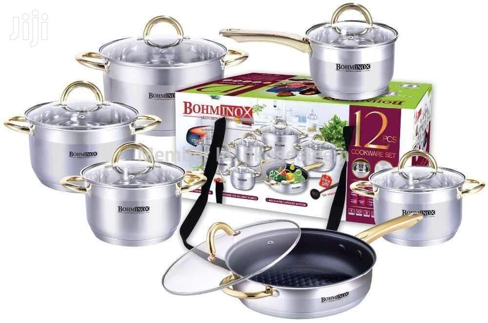 Bohminox 12pcs Heavy Duty Cookware Set (Induction Cooking Pots)