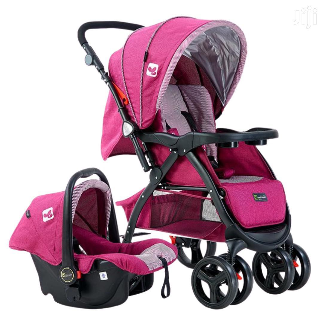 Superior 3 In 1 Baby Stroller Set- Pink