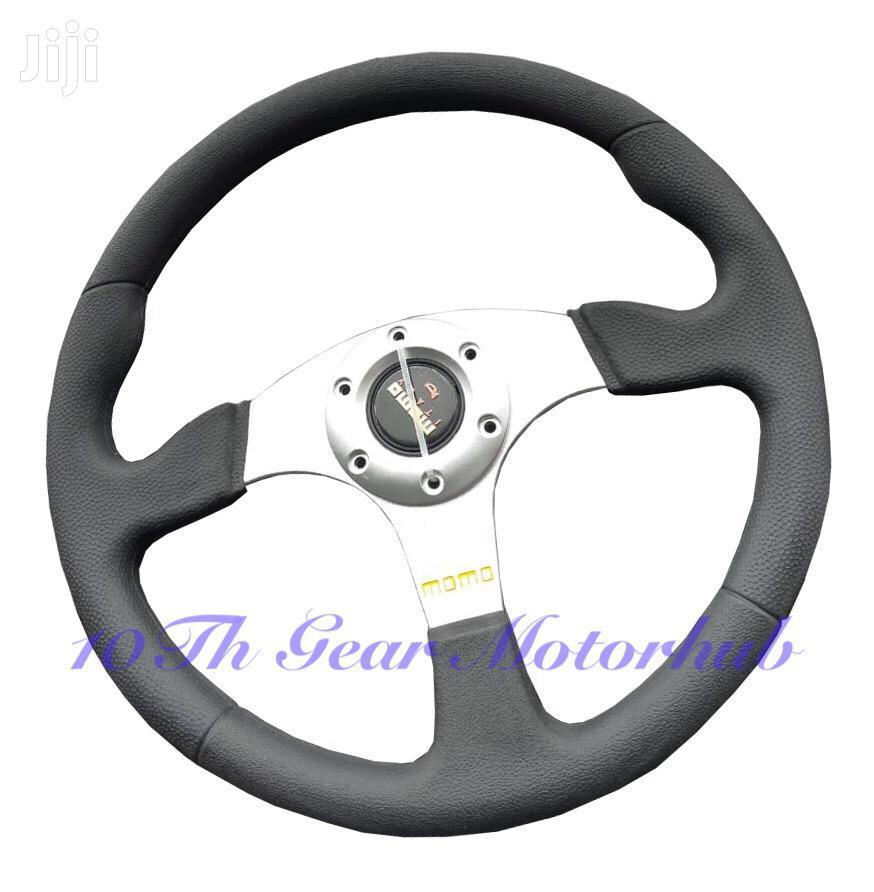 Sport Steering Wheel Black and Silver