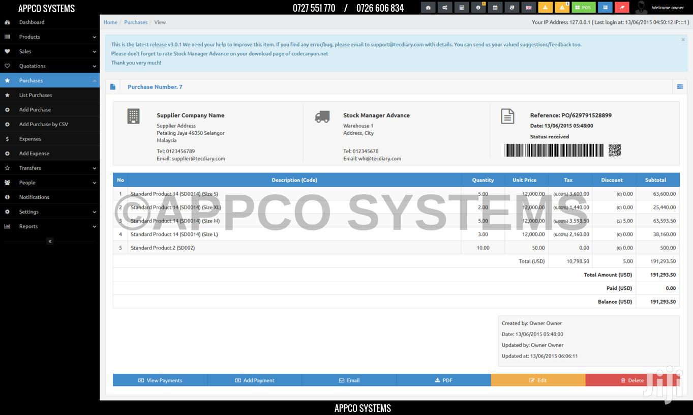 Stock And Inventory Management System